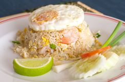 Shrimp fried rice and egg fired Royalty Free Stock Image