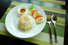 Shrimp fried rice recipe. Royalty Free Stock Photography