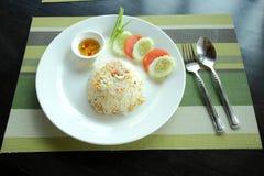 Shrimp fried rice recipe. Stock Photos