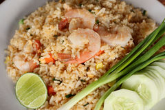 Shrimp fried rice recipe. Stock Photo