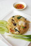 Shrimp fried rice serving with onion and cucumber slice Stock Photography