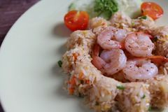 Shrimp fried rice. Arranged on a plate beautifully Stock Photography
