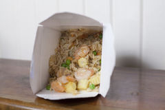 Shrimp Fried Rice. Take out box of shrimp and fried rice Royalty Free Stock Photos