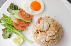 Shrimp fried rice. Thai food shrimp fried rice serves on the dish Stock Photography