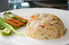 Shrimp fried rice. Thai food shrimp fried rice serves on the dish Stock Photos