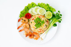 Shrimp fried rice. Top view ; Shrimp fried rice on white background Royalty Free Stock Images