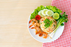Shrimp fried rice. Top view ; Shrimp fried rice on wooden background Stock Image