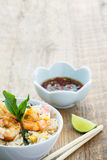 Shrimp fried rice. Shrimp fried rice, a traditional thai food Royalty Free Stock Images