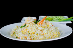 Shrimp fried rice. Unique style Thai shrimp fried rice serves on the dish Stock Image