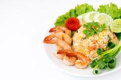 Shrimp fried rice. On white background Stock Photography