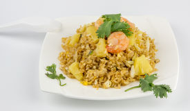 Shrimp Fried Rice. On white background Royalty Free Stock Photo