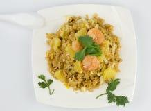 Shrimp Fried Rice. On white background Stock Photos