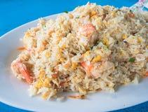Shrimp fried rice. On white dish Stock Image