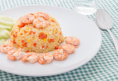 Shrimp fried rice. On white plate Stock Image