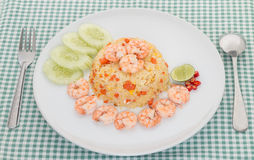Shrimp fried rice on white plate. Thai food Stock Photos