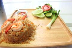 Shrimp fried rice. In a wooden dish Stock Images