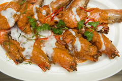 Shrimp fried in a spicy coconut sauce Royalty Free Stock Photo