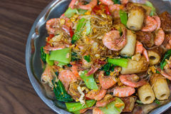 Shrimp fried vermicelli and vegetables. Royalty Free Stock Image