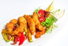 Shrimp Fritter on dish Royalty Free Stock Photography