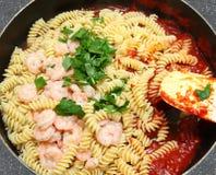Shrimp and Fusilli Pasta Royalty Free Stock Image