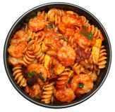 Shrimp and Fusilli Pasta with Summer Squash and Olives Royalty Free Stock Photos