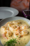 Shrimp Gambas. In white cream sauce Royalty Free Stock Photo