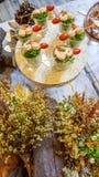 Shrimp with garlic bread Stock Image