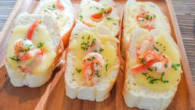Shrimp with garlic bread spaghetti, shrimp wrapped with lotus petals. Stock Photography