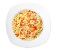 Shrimp garlic pasta Stock Photography