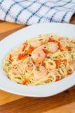 Shrimp garlic pasta Royalty Free Stock Photo
