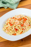 Shrimp garlic pasta Royalty Free Stock Photos