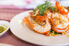 Shrimp with garlic Stock Image