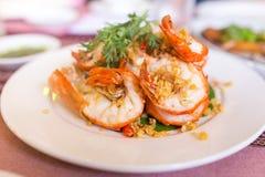 Shrimp with garlic Stock Photos