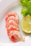 Shrimp with garnish Royalty Free Stock Image