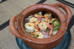Shrimp with glass noodle in clay pot Royalty Free Stock Image