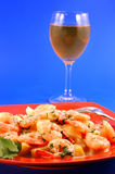 Shrimp and a glass of wine Royalty Free Stock Photos