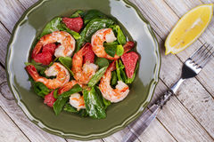 Shrimp, Grapefruit And Spinach Salad. View From Above, Top Studio Shot. Royalty Free Stock Images