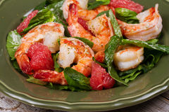 Shrimp, grapefruit and spinach salad Stock Image
