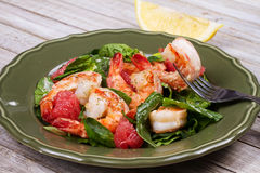 Shrimp, grapefruit and spinach salad Royalty Free Stock Image