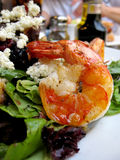 Shrimp in Greek salad Stock Photography