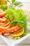 Shrimp with green salad Stock Photo