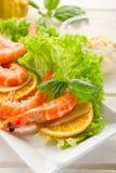 Shrimp with green salad Stock Photo