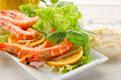Shrimp with green salad Royalty Free Stock Images