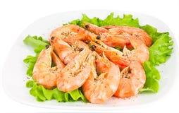 Shrimp on a green salad stock photos