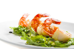 Shrimp with greens Royalty Free Stock Images