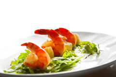Shrimp with greens Royalty Free Stock Image