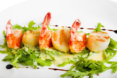 Shrimp with greens Stock Photography