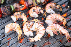 Shrimp on Grill. Shrimp prawns on the grill with kabobs royalty free stock image