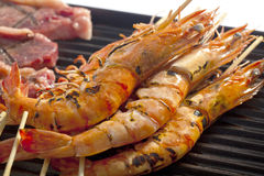 Shrimp on the Grill. Stock Photo