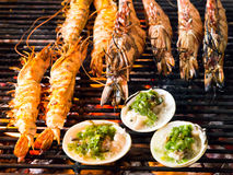 Shrimp Grill cooking seafood. Royalty Free Stock Photos